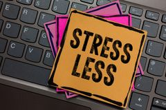 Conceptual hand writing showing Stress Less. Business photo showcasing Stay away from problems Go out Unwind Meditate Indulge Ones. Elf Papers keyboard stock images