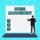 Conceptual hand writing showing Stress Management. Business photo text method of limiting stress and its effects by. Conceptual hand writing showing Stress stock illustration
