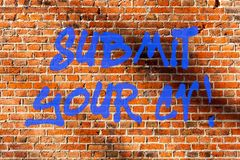 Conceptual hand writing showing Submit Your Cv. Business photo text Looking for a job Recruitment send us resume to. Apply Brick Wall art like Graffiti royalty free stock images