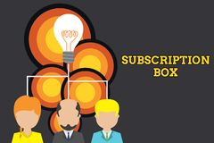 Conceptual hand writing showing Subscription Box. Business photo text button if you clicked on will get news or videos. Conceptual hand writing showing royalty free illustration
