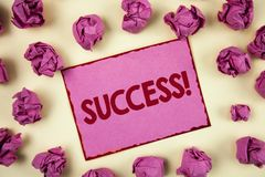 Conceptual hand writing showing Success Motivational Call. Business photo showcasing Achievement Accomplishment of some purpose wr. Itten Sticky Note Paper plain Royalty Free Stock Photo