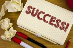 Conceptual hand writing showing Success Motivational Call. Business photo showcasing Achievement Accomplishment of some purpose wr. Itten Notebook Book the Stock Photo