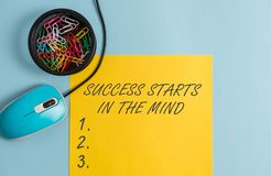 Conceptual hand writing showing Success Starts In The Mind. Business photo text set your mind to positivity it can go a. Conceptual hand writing showing Success royalty free stock photography