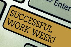 Conceptual hand writing showing Successful Work Week. Business photo text productive and satisfying working days in a. Week Keyboard key Intention to create stock photography