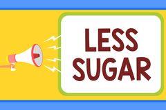 Conceptual hand writing showing Less Sugar. Business photo text Lower volume of sweetness in any food or drink that we eat Man hol vector illustration