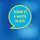 Conceptual hand writing showing Sugar Is A White Death. Business photo showcasing Sweets are dangerous diabetes alert. Unhealthy foods Speech Bubble with Border stock illustration