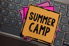 Conceptual hand writing showing Summer Camp. Business photo showcasing Supervised program for kids and teenagers during summertime. Papers keyboard Inspiration royalty free stock image