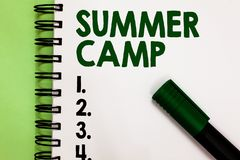 Conceptual hand writing showing Summer Camp. Business photo showcasing Supervised program for kids and teenagers during summertime royalty free stock photos