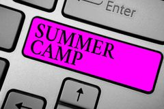 Conceptual hand writing showing Summer Camp. Business photo text Supervised program for kids and teenagers during summertime. Keyb. Oard purple key computer stock photography