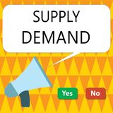 Conceptual hand writing showing Supply Demand. Business photo showcasing Relationship between the amounts available and wanted.  stock illustration