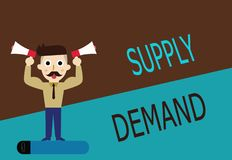 Conceptual hand writing showing Supply Demand. Business photo text Relationship between the amounts available and wanted.  vector illustration