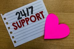 Conceptual hand writing showing 24 7 Support. Business photo showcasing Giving assistance to service whole day and night No downti. Me Notebook paper Romantic stock image