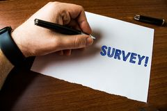 Conceptual hand writing showing Survey. Business photo text research method used for collecting data from a predefined stock photo