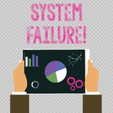 Conceptual hand writing showing System Failure. Business photo showcasing Occur because of a hardware failure or a. Conceptual hand writing showing System stock illustration