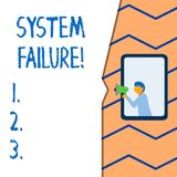 Conceptual hand writing showing System Failure. Business photo text Occur because of a hardware failure or a software. Conceptual hand writing showing System stock illustration