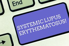 Conceptual hand writing showing Systemic Lupus Erythematosus. Business photo text immune system of the body attack. Healthy tissue Keyboard key Intention to stock photo