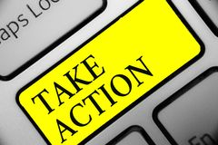 Conceptual hand writing showing Take Action. Business photo showcasing advices someone to do something or reaction right now Keybo. Ard yellow key computer stock photography