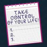 Conceptual hand writing showing Take Control Of Your Life. Business photo text Be the analysisager of your destiny. Motivation Lined Spiral Color Notepad on royalty free stock images