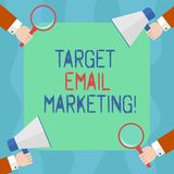 Conceptual hand writing showing Target Email Marketing. Business photo text advertisement is sent to a target list of recipients. Hu analysis Hands Holding vector illustration