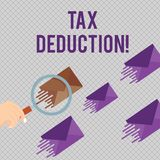 Conceptual hand writing showing Tax Deduction. Business photo showcasing amount subtracted from income before vector illustration