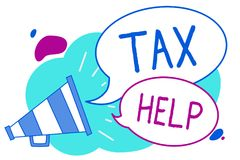 Conceptual hand writing showing Tax Help. Business photo text Assistance from the compulsory contribution to the state revenue Meg. Aphone loudspeaker loud royalty free illustration