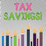 Conceptual hand writing showing Tax Savings. Business photo text means that you pay reduced amount of taxes than normal stock illustration