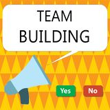 Conceptual hand writing showing Team Building. Business photo showcasing Types of activities used to enhance social relations.  stock illustration
