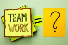 Conceptual hand writing showing Team Work. Business photo showcasing Cooperation Together Group Work Achievement Unity Collaborati. On written Yellow Sticky Note royalty free stock photography