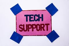 Conceptual hand writing showing Tech Support. Business photo text Help given by technician Online or Call Center Customer Service. Written Pink Sticky Note Stock Photos
