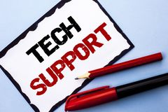 Conceptual hand writing showing Tech Support. Business photo text Help given by technician Online or Call Center Customer Service. Written White Sticky Note Stock Photography