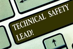 Conceptual hand writing showing Technical Safety Lead. Business photo text Maintain technical integrity and workplace. Safety Keyboard key Intention to create vector illustration