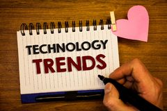 Conceptual hand writing showing Technology Trends. Business photo text Trending Modern Viral Advanced Development Trendy New Human stock photo