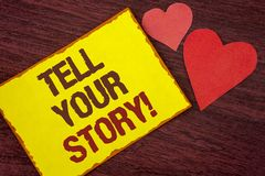 Conceptual hand writing showing Tell Your Story Motivational Call. Business photo text Share your experience motivate world writte. N Yellow Sticky note paper royalty free stock photography