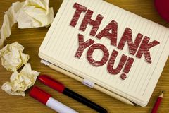 Conceptual hand writing showing Thank You Motivational Call. Business photo showcasing Appreciation greeting Acknowledgment Gratit. Ude written Notebook Book the Stock Image