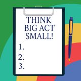 Conceptual hand writing showing Think Big Act Small. Business photo showcasing Make little steps to slowly reach your vector illustration