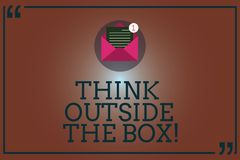 Conceptual hand writing showing Think Outside The Box. Business photo showcasing Be unique different ideas bring. Brainstorming Open Envelope with Paper Email stock illustration