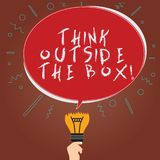 Conceptual hand writing showing Think Outside The Box. Business photo showcasing Be unique different ideas bring. Brainstorming Oval Speech Bubble Above a stock illustration