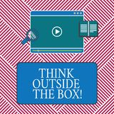 Conceptual hand writing showing Think Outside The Box. Business photo text Be unique different ideas bring brainstorming. Tablet Video Player Upload and royalty free illustration