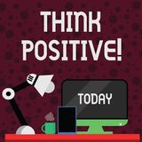 Conceptual hand writing showing Think Positive. Business photo showcasing to believe that you are going to be succeed in. Conceptual hand writing showing Think vector illustration