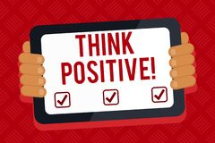 Conceptual hand writing showing Think Positive. Business photo text to believe that you are going to be succeed in your. Conceptual hand writing showing Think stock illustration