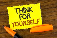 Conceptual hand writing showing Think For Yourself. Business photo showcasing Have an independent Mind Attitude Make your own deci Royalty Free Stock Photography