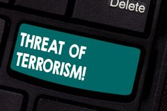 Conceptual hand writing showing Threat Of Terrorism. Business photo showcasing unlawful use violence and intimidation royalty free stock photos