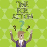 Conceptual hand writing showing Time For Action. Business photo showcasing Urgency Move Encouragement Challenge Work. vector illustration