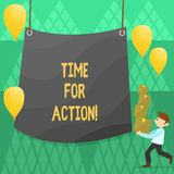 Conceptual hand writing showing Time For Action. Business photo showcasing Urgency Move Encouragement Challenge Work. Conceptual hand writing showing Time For royalty free illustration