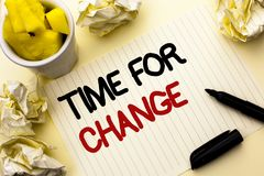 Conceptual hand writing showing Time For Change. Business photo showcasing Changing Moment Evolution New Beginnings Chance to Grow. Written Notebook Paper the Stock Images