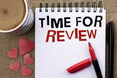 Conceptual hand writing showing Time For Review. Business photo showcasing Evaluation Feedback Moment Performance Rate Assess writ. Ten Notebook Book the jute royalty free stock photos