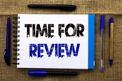 Conceptual hand writing showing Time For Review. Business photo text Evaluation Feedback Moment Performance Rate Assess written on. Conceptual hand writing royalty free stock images