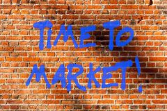 Conceptual hand writing showing Time To Market. Business photo text Right moment for making financial movements stock. Exchange Brick Wall art like Graffiti royalty free stock images