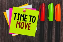 Conceptual hand writing showing Time To Move. Business photo showcasing Best period to transfer Relocation Change the current path stock photo