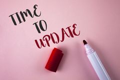 Conceptual hand writing showing Time To Update. Business photo showcasing Renewal Updating Changes needed Renovation Modernization. Written Plain Pink Stock Photos